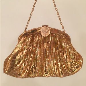 Vintage Whiting & Davis gold rhinestone clutch